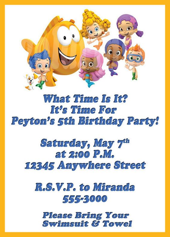 Bubble Guppies Photo Birthday Invitation  by pixels4parties, $5.75