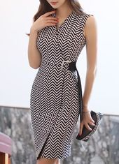 Zig Zag Patterned Belt Strap V Neck Dress Kadin Giyim Blazer Elbise Klas Elbiseler