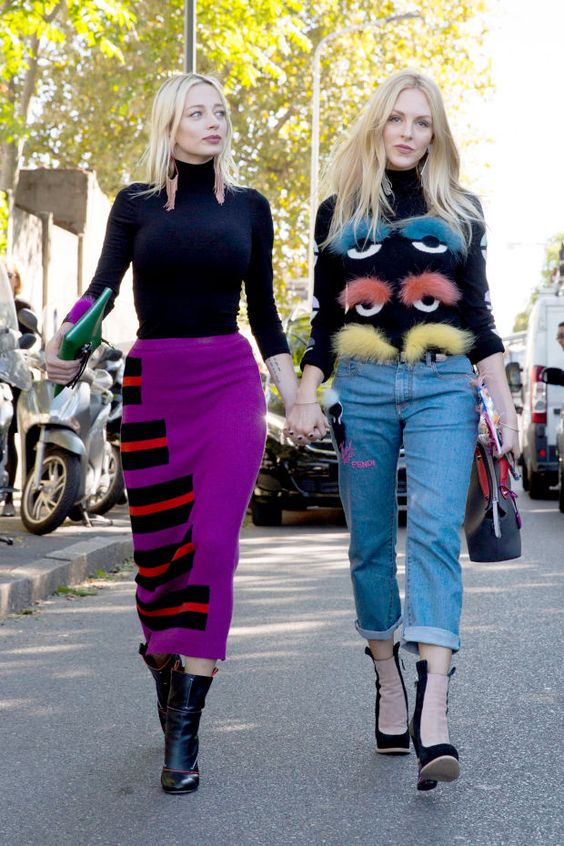 Caroline Vreeland and Shea Marie, both in Fendi. Photo: Imaxtree