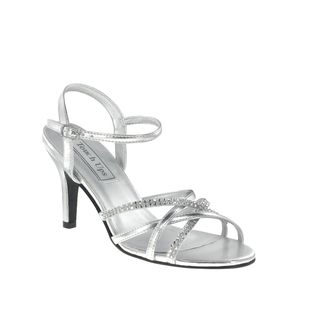 Touch Ups Silver Rhinestone Strappy Low Heels Womens Bridal