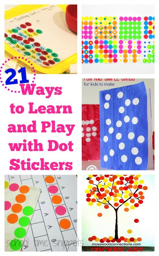 What kiddo doesn't love dot stickers?  They are very versatile and great for fine motor skills-- great list of 21 activities to play and learn using dot stickers!