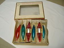 Vintage Lot 6 Long Teardrop Glass Christmas Tree Ornaments Antique Ornaments