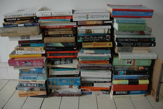Taking my PADI inspiration today from Grac's picture, here's the teetering pile of books next to my bed, the titles of which seem to describe my interests pretty comprehensively. Looking at this in isolation from the rest of my bedroom is weird.    Top This is really good