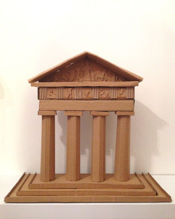Temple grec greek temple 2013 cartr cardboard for How to make paper temple