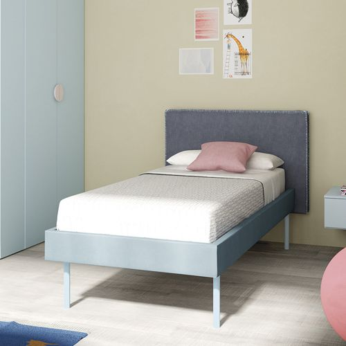 Compact Modern Single Children Bed With Padded Fabric Headboard