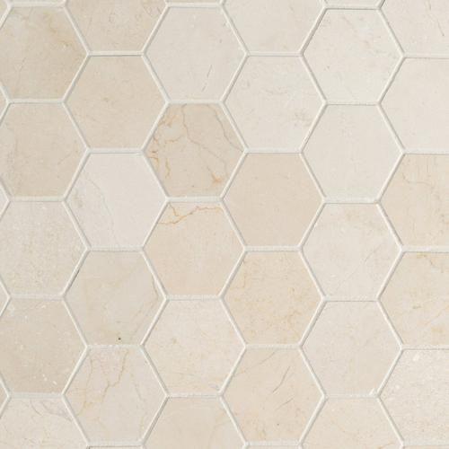 Crema Marfil 3 Hexagon Marble Mosaic Floor Decor Marble Mosaic Marble Mosaic Floor Polished Marble Tiles