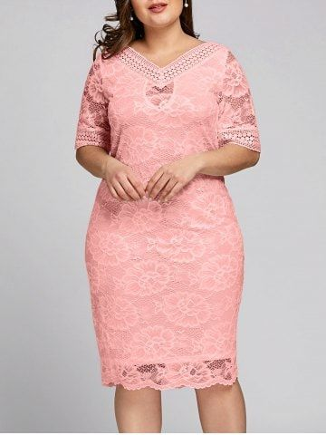 58e7ded9cc5d Shop for Pink 2xl Plus Size V Neck Midi Lace Dress online at  23.02 and  discover
