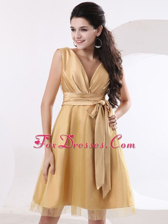 Bridesmaid Dress with Tulle and Taffeta in Champagne