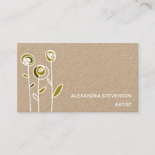 Flowers Modern Art Minimalist Business Card Zazzle Com Craft Business Cards Artist Business Cards Minimalist Business Cards