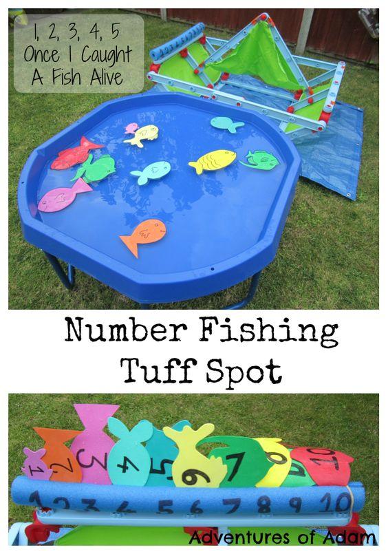 Number Fishing Tuff Spot 1, 2, 3, 4, 5 Once I Caught A Fish Alive Nursery Rhyme | http://adventuresofadam.co.uk/number-fishing-tuff-spot/