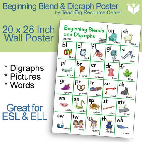Beginning Blend and Digraph Poster  Display this colorful poster in a prominent place to give your beginning writers the opportunity to refer to the letters of a word they wish to write. All of our beginning blend and digraph materials use the same full-color, whimsical sound picture cues for consistency and constancy. Use the materials in conjunction with your basal lessons or with your Words Their Way word study! A TRC Original Product! 20 x 28 inches. This product is Title 1 Approved