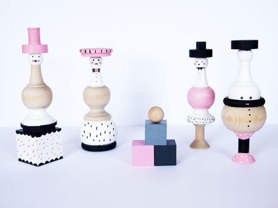 wooden spindle dolls By LA MAISON DE LOULOU