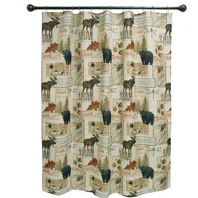 Bacova Guild Vintage Outdoors Polyester Single Shower Curtain Fabric Shower Curtains Designer Shower Curtains Curtains