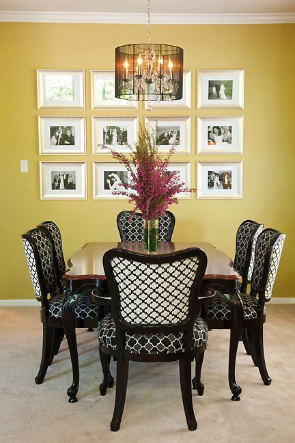 Upholstery Yellow Dining Room And Table And Chairs On