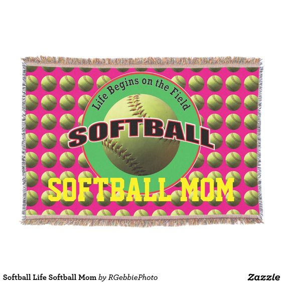Softball Life Softball Mom Throw - $109.00 - Softball Life Softball Mom Throw - by #RGebbiePhoto @ #zazzle - #Softball #Sport #Game - Snuggle down with your favorite design! Life Begins on the Field. Softball player? Softball coach? Softball sports fans love our sport line! A safety yellow softball, photograph taken in natural light. Field green background with safety yellow Softball creates the background for this product.