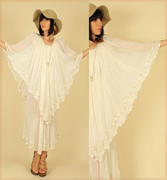 ViNtAgE Gauze Cotton Gypsy Wedding Hippie Angel 70s Maxi Dress