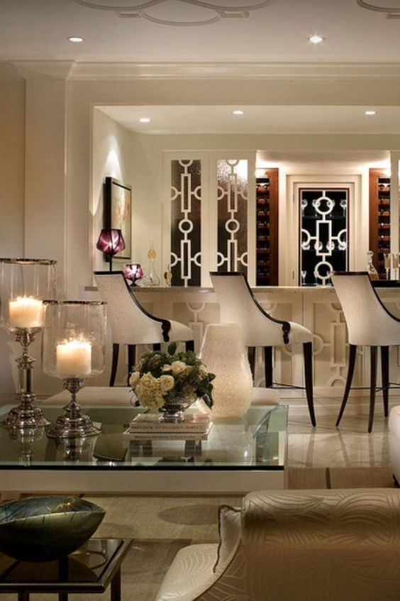 geometric molding and modern details  all white pallet for a living room with bar set up