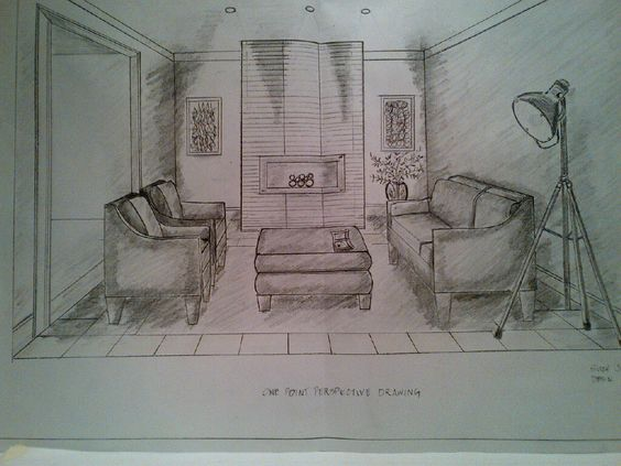 One Point Perspective Drawing Of A Living Room Rendered By Sc Jones Finishing Interiors
