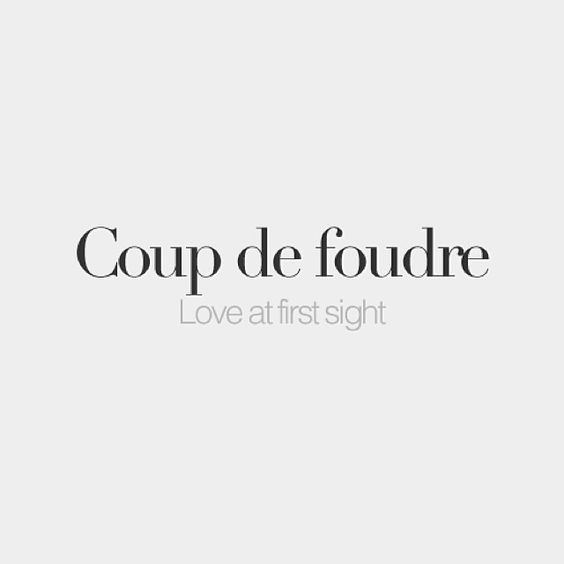 Coup de foudre (masculine, literally: Lightning shot) | Love at first sight | /ku də fudʁ/: