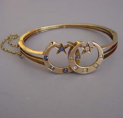 VICTORIAN diamond and sapphire crescent moon and stars  gold bracelet