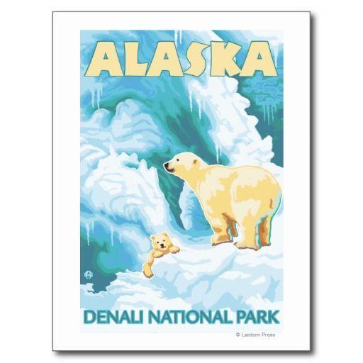 Polar Bears & Cub - Denali National Park, Alaska Post Cards #polar #bear #alaska #postcard