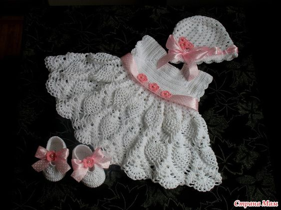 Baptism Dress, Hat and Booties free crochet graph pattern