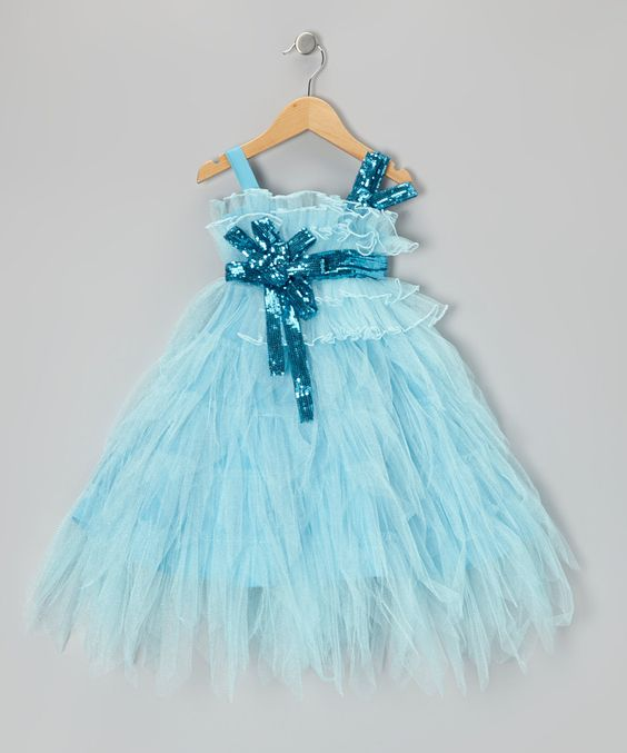 Take a look at this Light Blue Sequin Tiered Dress - Toddler ...