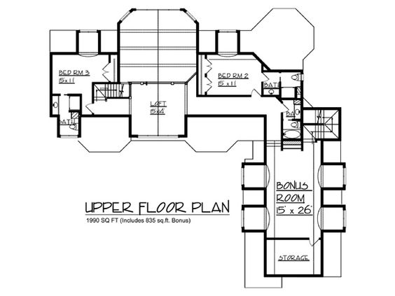 Second Floor Plan of House Plan 57550