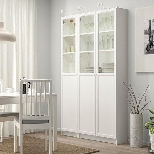 Billy Oxberg Bucherregal Mit Paneel Vitrturen Weiss Glas Ikea Deutschland Glass Door Billy Bookcase Bookcase Design
