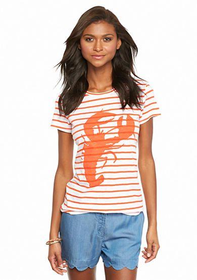 crown & ivy™ Striped Lobster Short Sleeve Tee