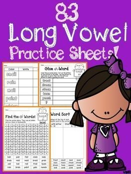 Long Vowel Patterns 83 No Prep Practice Sheets! 21 Spelling ...