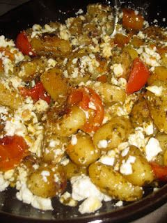 Crispy Gnocchi with Basil Pesto, cherry tomatoes and feta (I would ...