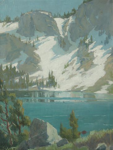 Elmer Wachtel (American, 1864-1929) Winter reflections, Sierra Nevadas 18 x 13 1/2in overall: 21 x 17in