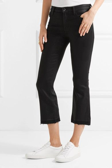 J Brand - Selena Cropped Coated Mid-rise Bootcut Jeans - Black - 28