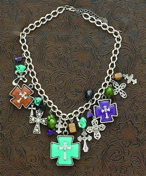 cute cross necklace with the bold colors