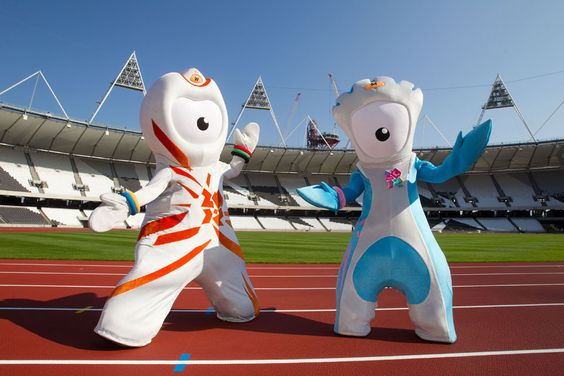 London 2012 mascots Wenlock and Mandeville on the completed track. #London2012