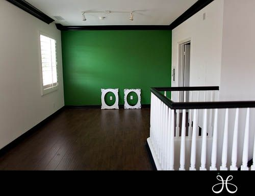 Apple green accent wall white walls and black trim new for Accent colors for green walls