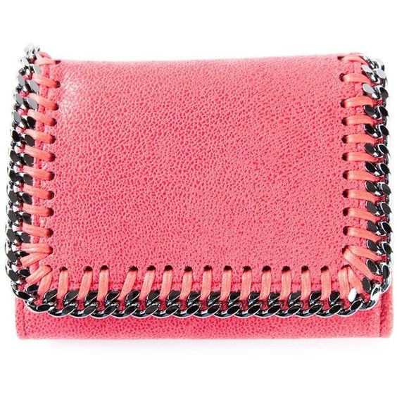Stella McCartney 'Falabella' wallet (1.700 BRL) ❤ liked on Polyvore featuring bags, wallets, fake leather wallet, 100 leather wallet, red leather bag, snap closure wallet and leather wallet