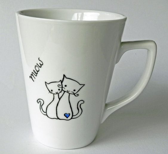 cat couple in love - handpainted porcelain cup