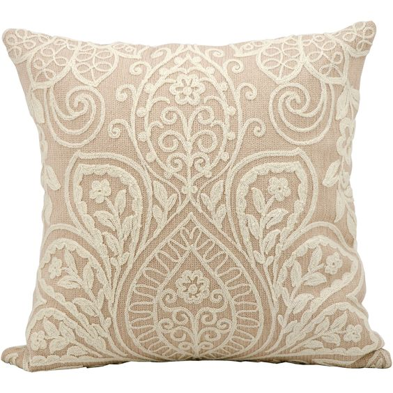 This exceptionally beautiful pillow adds new textures to your decor with a suede-and-wool construction. The exquisite raised floral design has the grace of vintage embroidery and combines with a delicate color palette for a sophisticated look.