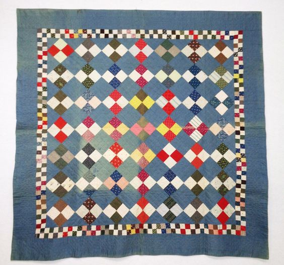 "Antique 4 Patch Quilt Circa 1900 | eBay seller joseblaw; label: ""Cumberland County, PA Quilt Documentation KB 022; 75.5"" x 74.25"""