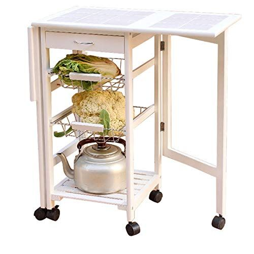 Feelfly Portable Folding Kitchen Rolling Tile Top Drop Leaf Storage Trolley Cart White Review Kitchen Cart Kitchen Island With Drawers Leaf Storage