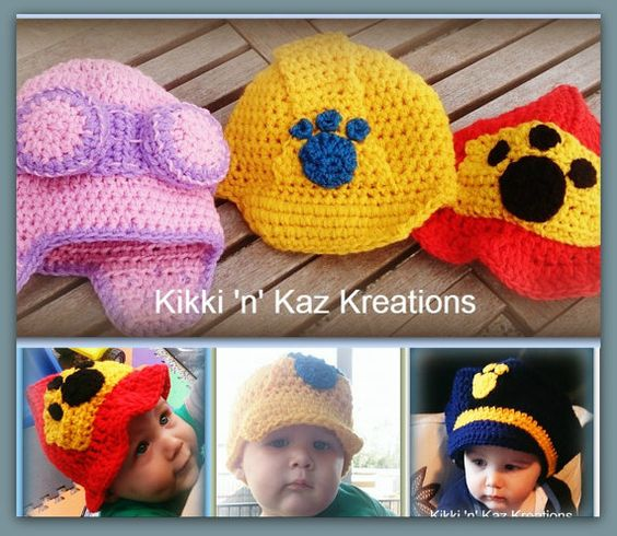 Crochet Hat Pattern Paw Patrol : Crocheted Paw Patrol Inspired Hats by KikkinKazKreations ...