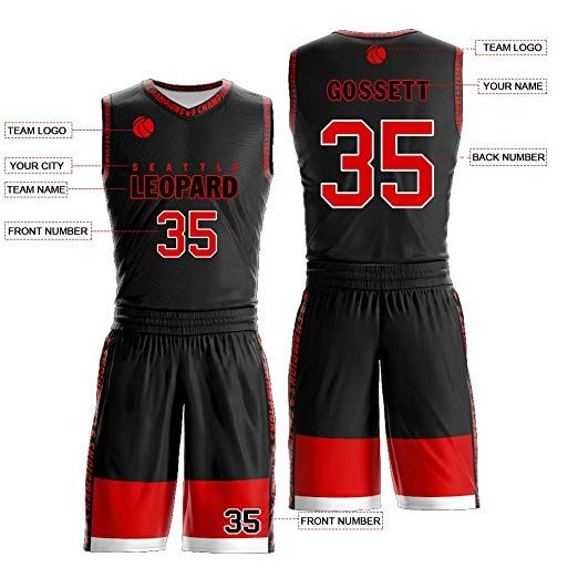 Custom Black And Red Basketball Jerseys Printed Number Name And Logo Breathable And Quick Dry Custom Sports Jerseys Basketball Jersey Jersey Design
