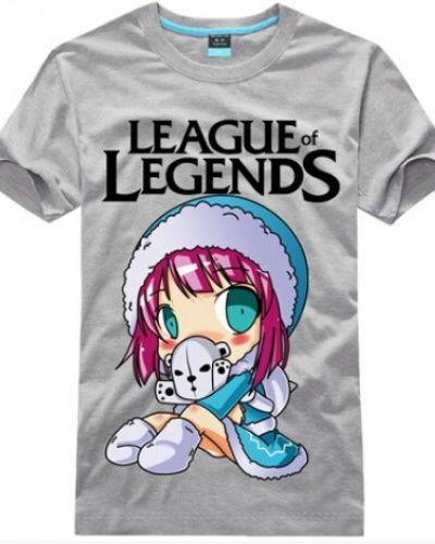 League of Legends Annie manga curta camiseta bonito dos desenhos animados-