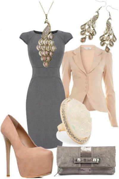 chic nude and grey outfit