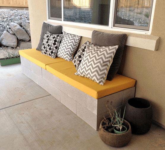 Outdoor Cushion Cinder Block Bench