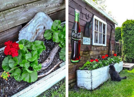 white crate planter alongside the shed via Funky Junk Interiors.