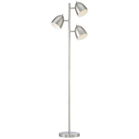 Aaron Brushed Nickel 3 Light Tree Floor Lamp 41a89 Lamps Plus Floor Lamp Nickel Floor Lamp Lamp