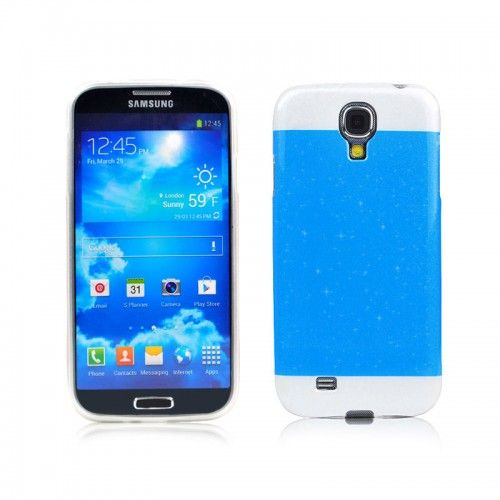 Two-tone Glisten Protective Case for Samsung i9500--Sky Blue - Aulola Online Store $1.58